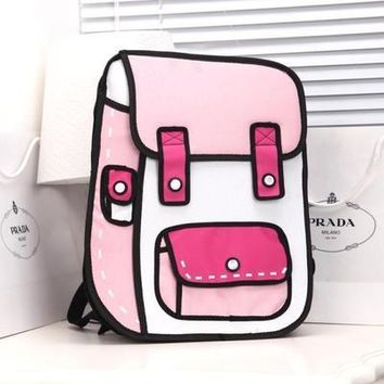 Student Backpack Children 2018 New 3D Jump Style 2D Drawing Cartoon Paper Bag Comic Backpack Messenger Tote Fashion Cute Student Bags Unisex Bolos AT_49_3