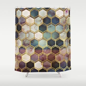 RUGGED MARBLE Shower Curtain by Monika Strigel