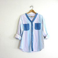 20% OFF SALE Vintage cotton shirt. Tomboy button down shirt. denim collarless shirt. pastell stripes.