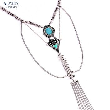Metal Natural stone tassel dangle necklace Vintage Boho Ethnic style Multi layer trendy jewelry gift N00010