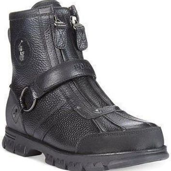 ICIK1W Polo Ralph Lauren Conquest High Duck Boots Black color Mens Boot