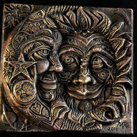 Eclipse Cast Stone Sculpture Brother Sun by InnovativeStoneArt