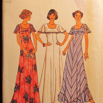 SALE Uncut 1970's Simplicity Sewing Pattern, 7434! Size 16 medium/Large/Women's/Misses/Loose Fitting Sleeveless Dress/Round Neckline/Flounce