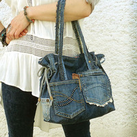 Denim tote bag handbag crazy Boho recycled distressed grunge