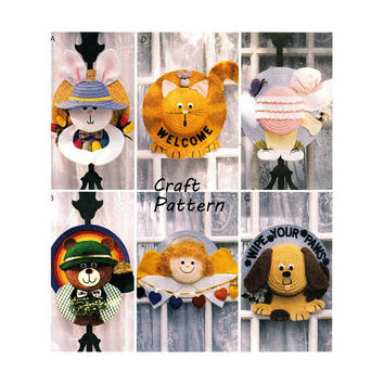 McCall's 2655 Straw Hat Wreaths Bunny, Bear, Puppy, Kitten, Angel, Baby Seasonal or Holiday Decor for Door/Window Craft Sewing Pattern UNCUT