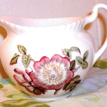 Johnson Brothers Old Flower Prints Creamer, china England, Wild Rose