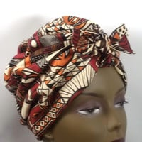 Cotton,African print,orange,brown,black,fashion,vintage style,designer,turban,hat,head scarf,head wrap. sz.S,M,L,XL. Free shipping.
