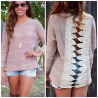 Queen's Gates Taupe Two Tone Crochet Sweater