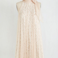 Vintage Inspired Mid-length Sleeveless Tent Time and Grace Dress in Champagne
