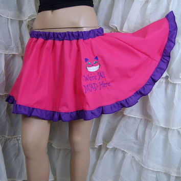 Cheshire Cat - We're All Mad Here - Embroidered Fuchsia Hot Pink Circle Skirt Adult ALL Sizes - MTCoffinz