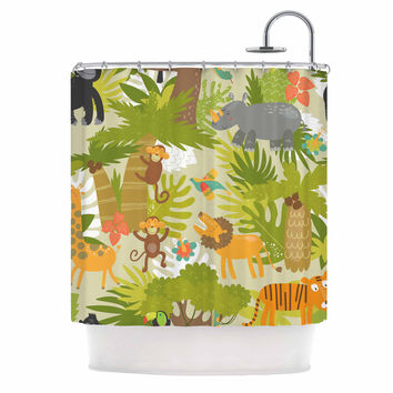 "Petit Griffin ""Roar Of The Jungle"" Green Animals Shower Curtain"