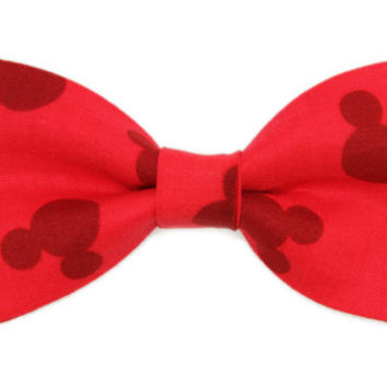 Men / Boys Red Mickey Mouse Clip on BOW TIE