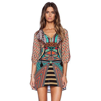 Fashion vintage Loose Mini Dress = 5617071937