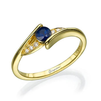 Sapphire Engagement Ring, Blue Sapphire Ring, Curved Ring, Gem Ring, Gemstone Ring, Diamond Ring, Yellow Gold Ring, Twist Ring, Promise Ring