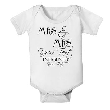 Personalized Mrs and Mrs Lesbian Wedding - Name- Established -Date- Design Baby Romper Bodysuit