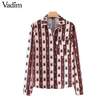 Vadim women vintage insects pattern blouse pocket long sleeve turn down collar shirts female casual autumn tops blusas LT2623