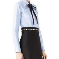 Gucci Long-Sleeve Oxford Stripe Blouse with Grosgrain Tie, Blue