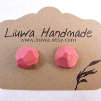 Coral Faceted Clay Earrings Stainless Surgical Steel by Liuwa