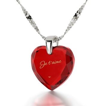"""I Love You"" in French, 14k White Gold Necklace, Cubic Zirconia"