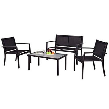 TANGKULA Patio Furniture Set 4 PCS Black with 2 Chairs, Tempered Glass Coffee Table & Loveseat for Backyard Lawn Pool Balcony Sturdy Armrests for Relaxing Universal Modern Patio Conversation Set
