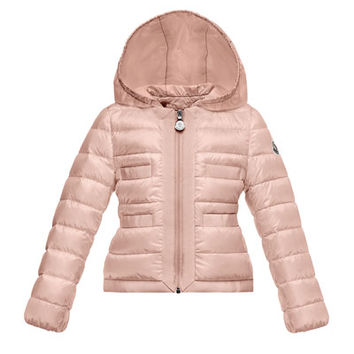 Moncler Alose Hooded Lightweight Down Puffer Coat, Light Pink, Size 2-3