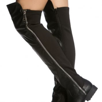 Black Faux Leather Zipper Accent Knee High Boots @ Cicihot Boots Catalog:women's winter boots,leather thigh high boots,black platform knee high boots,over the knee boots,Go Go boots,cowgirl boots,gladiator boots,womens dress boots,skirt boots.