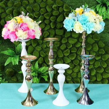 10 pcs Metal Candle Holder Candle Stick Wedding Centerpiece Event Road Lead Flower Stands Rack Vase