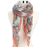 Parrot Print Lightweight Square Scarf: Charlotte Russe