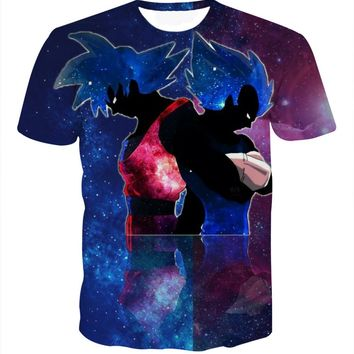 Anime Costume Onesuit Newest Galaxy Space Anime Dragon Ball Z Goku T Shirts Anime Vegeta 3d T Shirt Men Summer Casual Tees R3004