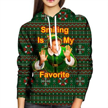 Smiling Is My Favorite Elf Womens Hoodie