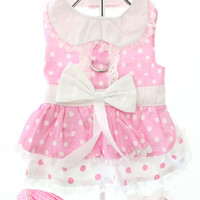 Baby Pink Polka Dot Harness Dress, Lead and Hat | Chihuahua Clothes and Accessories at the Famous Chihuahua Store!