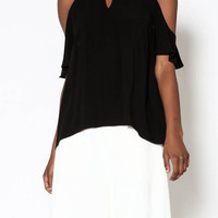 Black Keyhole Cold Shoulder Top