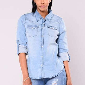 At Last Button Up Top - Light Wash