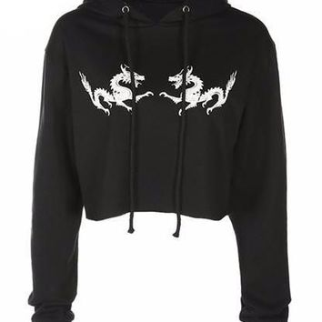 Double Dragon Cropped Pullover Sweatshirt with Hood
