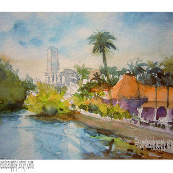 By the Mangrove, Singapore aceo painting wallart landscape id1360113 original watercolor, not a print, wall art, seascape