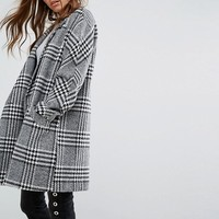 Pimkie Oversized Checked Coat at asos.com