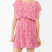 Cap Sleeve Batik Print Dress | FOREVER21 - 2000044793