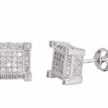 New Men 4 corner square micro pave CZ stones .925 Sterling Silver Stud Earrings