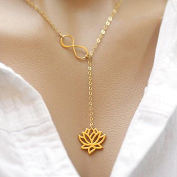yiustar Gold Infinity Lotus Lariat Pendant  Necklace Figure Eight Lotus Flower Chokers Necklace for Women Collier  Femme  XL043