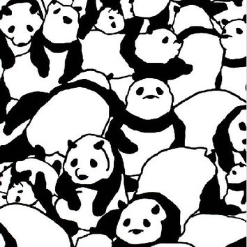 Japanese Tenugui Towel Fabric, Monochrome Panda Bear Animal Art Design, Cotton 100%, Wall Art Hanging, Gift Wrapping, Headband, Skirf - t008