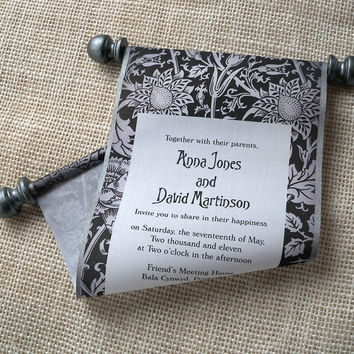 Black and White Wedding Invitation, Elegant Fabric Scroll with Floral Damask, Metallic Pewter Accents {25}