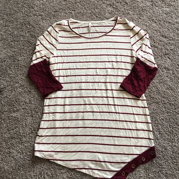 Burgundy button top