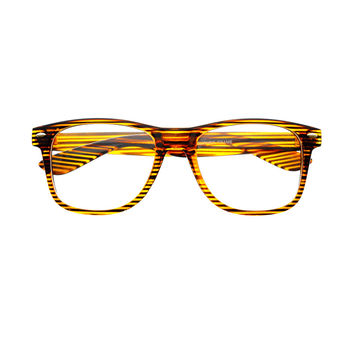 Funky Stripes Clear Lens Retro Glasses Frames W92