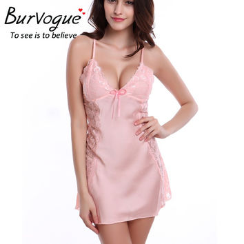 Burvogue 2016 Summer Silk Nightwear Nightdress Sexy Lingerie Nightdress Sleepwear Nightgowns Lace Baby dolls Sleepwear Babydolls