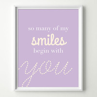 Baby Girl Nursery Wall Decor - Purple Nursery Decor - Cute Baby Wall Art - Gender Neutral - Smiles Begin with You Whimsical Nursery Prints