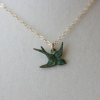 Green patina sparrow bird necklace gold filled chain by DelicacyJ