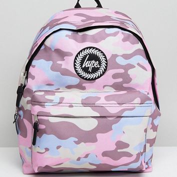 Hype Pink Camo Backpack at asos.com