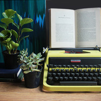 Neon Yellow Typewriter / Antique 1950s Universal Underwood Golden Touch / Quiet Tab Series / Vintage Industrial Home Decor