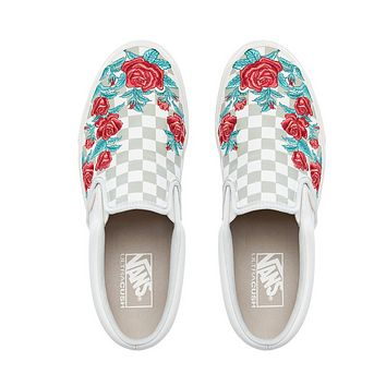 Vans Checkerboard Slip-On Classical lattice Rose Embroidery Fashionable casual shoes