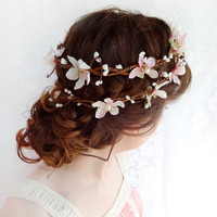 blush pink wedding hair flower wreath, bridal headpiece - SUGAR FROST - cherry blossom bridal hair accessory / flower girl headband